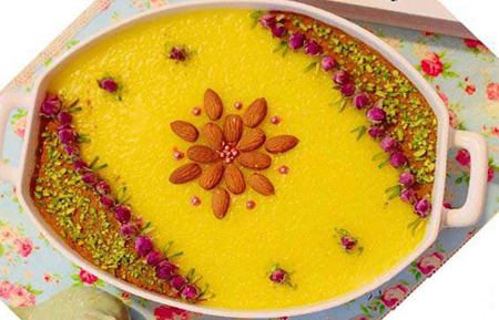تزیین شله زرد به شکل گل,تزیین شله زرد