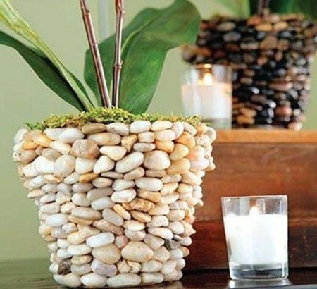 مدل های تزیین گلدان با سنگ,مراحل تزیین گلدان های سفالی ساده
