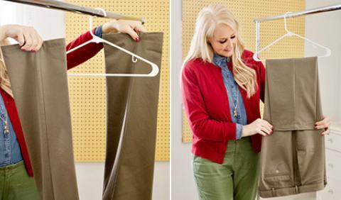 روش صحیح آویزان کردن شلوار به چوب لباسی آویزان کردن شلوار به چوب لباسی