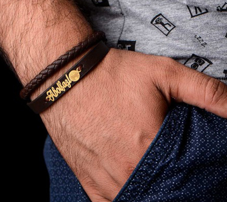 دستبند مردانه چرمی, دستبند پسرانه نقره