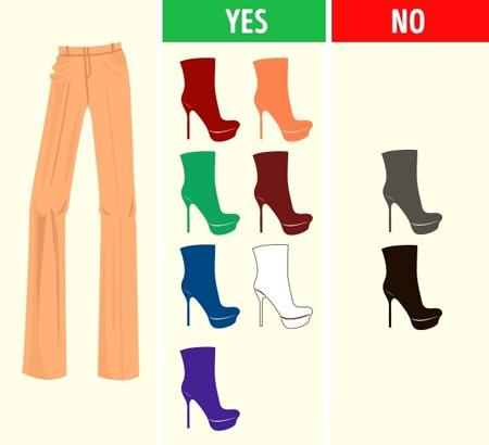 طرز ست کردن رنگ شلوار با کفش,راهنمای ست کردن رنگ شلوار با کفش