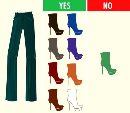 کفش های مناسب شلوارهای رنگی,طرز ست کردن رنگ شلوار با کفش