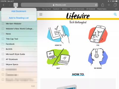 بوکمارک کردن وبسایت در آیپد, مرورگر Safari