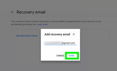 ایمیل بازیابی چیست, ایمیل بازیابی جیمیل